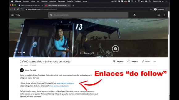 "Enlace ""do follow""para generar vínculos de calidad (linkbuilding) gratuito en Google Tour Creator"