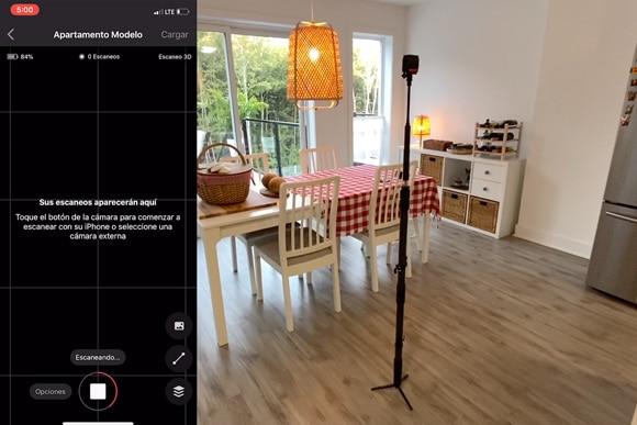 Escaneando con Insta 360 para realizar el ejemplo de Matterport Tour Virtual en 3D