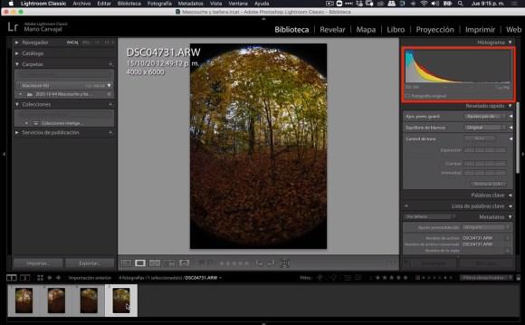 Imagen subexpuesta en RAW, con el histograma tirado a la izquierda en Lightroom