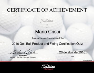 Mario Crisci Golf Ball Product and Fitting Certifified