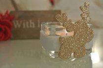 natale portalumino tealight renna glitter oro