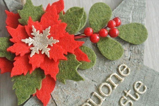 Natale decorazione stella legno Buone Feste