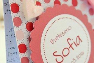Bomboniera battesimo scatola aperta pois color rosa