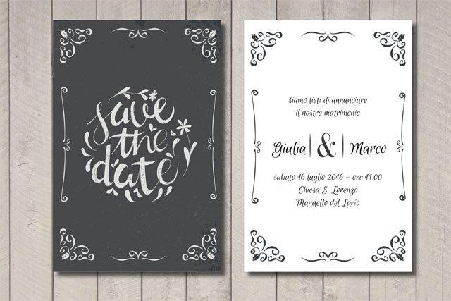 """Partecipazione matrimonio lavagna """"Save the Date"""""""