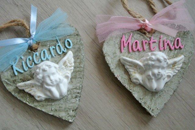 Cuore in legno con angelo polvere ceramica