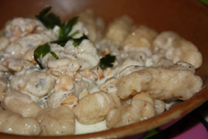 Celeriac Gnocchi with a gorgonzola &roasted hazelnuts cream