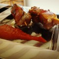 tuna and chorizo skewers on a plate