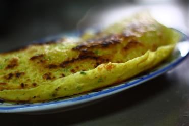 Vietnamese crepes served hot on a plate