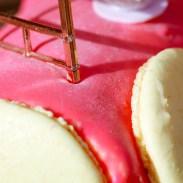 Détails d'une bûche de noël rose aux macarons, fruits rouges et citron