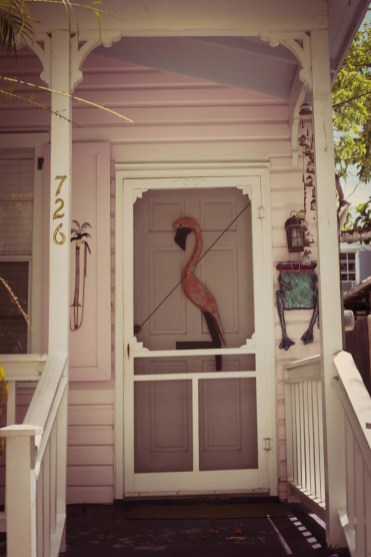 Pink flamingo door in Key West