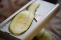 tranche de courgette coupée à la mandoline
