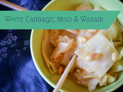 white cabbage with miso and wasabi
