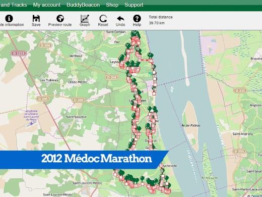 Médoc Marathon detailed Route Map 2012