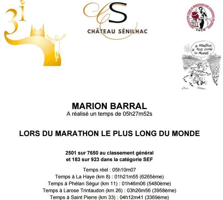 diplôme Marion Barral marathon du Médoc