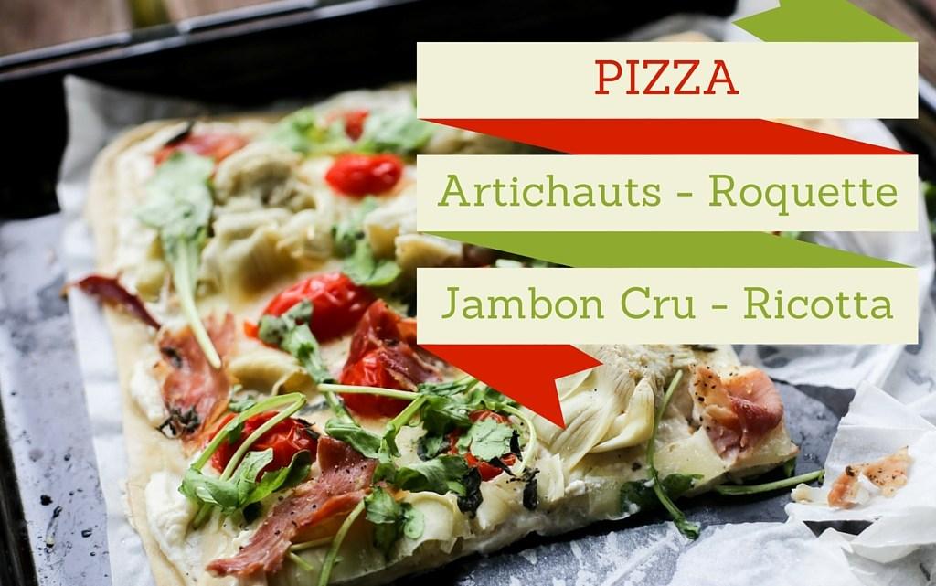 Pizza ricotta-miel, garniture artichauts et jambon