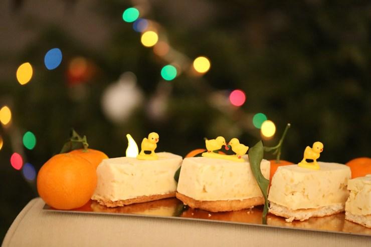 mini bûches de noël glacées saveurs exotiques coco orange mangue