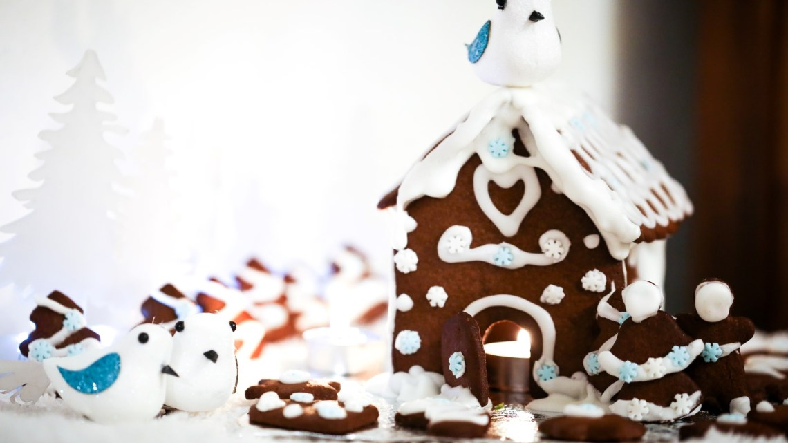 Gingerbread House & Biscuits for Christmas