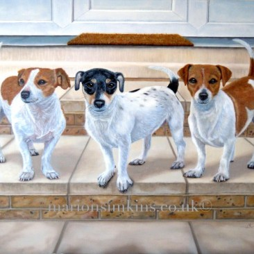 'Mash, Chops & Sausage' the Three Jack Russell's is a bespoke commissioned painting. The Three dogs are depicted in their typical pose, standing outside their house on the steps. Two of the dogs are tan & white and the one in the middle being black & tan & white. All three have their tails waving in the air.