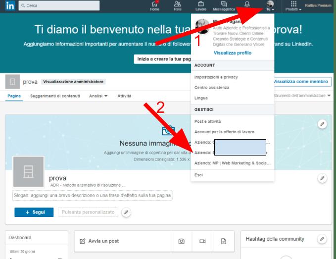LinkedIn per aziende menu gestione delle pagine