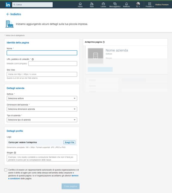 iscriversi a Linkedin come azienda le informazioni da inserire