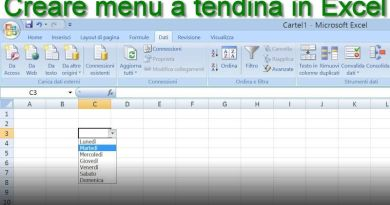 fare menu a tendina in Excel