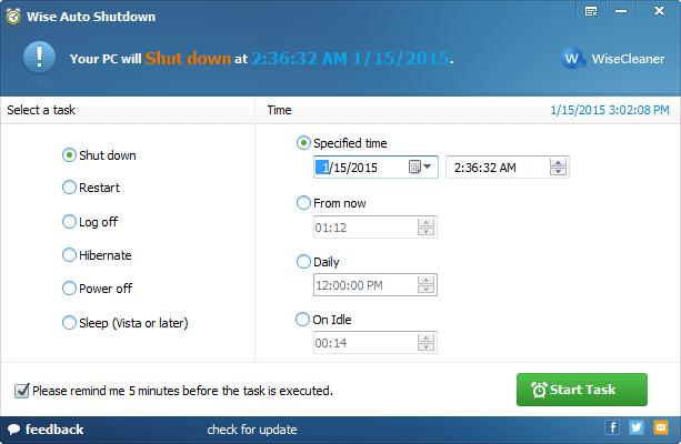 Spegnere il PC automaticamente con Wise Auto Shutdown