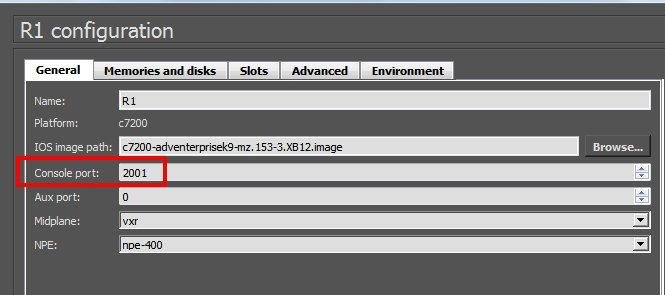 Configuração da porta console no GUI