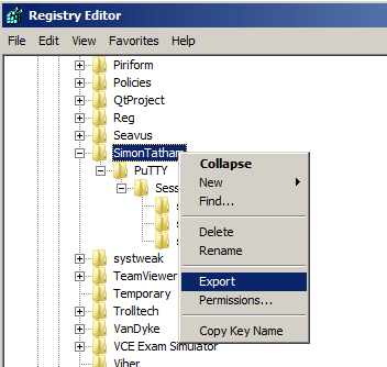Exportar Configurações do Putty