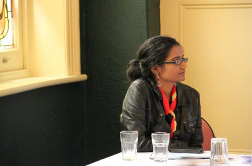 Marisa Wikramanayake waiting to present during the IPEd Conference freelancing workshop in 2013