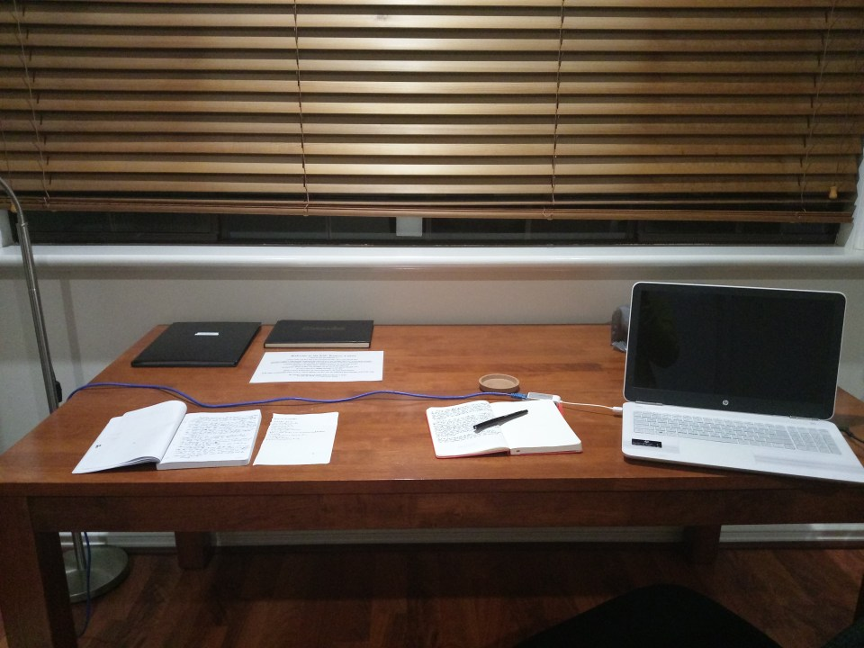 My desk in Phillips cabin at the KSP Writers Centre (c) Marisa Wikramanayake