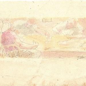 A-074 – Rond de tafel, aquarel s. J Maris 104×201