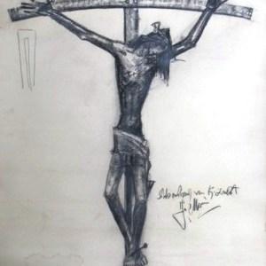 D-071 – Christus aan kruis, potlood, schetsontwerp voor k. Zeelst 1325×832 mm
