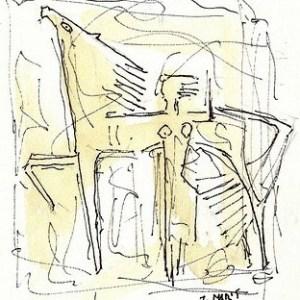 E-030 – Ruiter met paard  aquarel pen 240×165