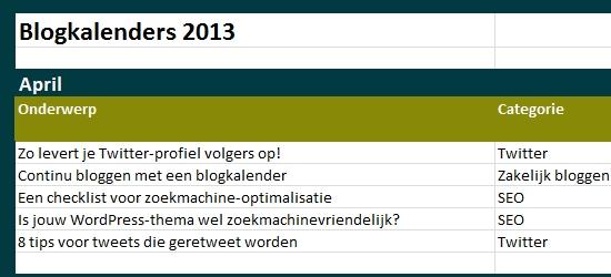 blogkalender onderwerpen verzinnen