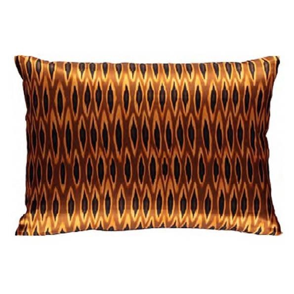 tribal ikat long ocre silk rectangular pillow