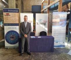 """Mr Christos Vassiliou of Mar.In.E.M with the MaRITeC-X poster at the """"Maritime Cyprus 2017"""" Conference"""