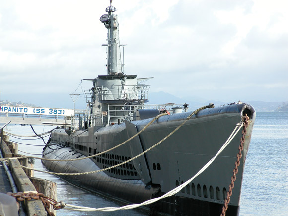 Photo of Pampanito's bow from the pier.