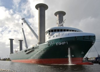 Enercon's E-Ship 1 with flettners. Credit: Carschen/Wikimedia Commons, CC BY-SA