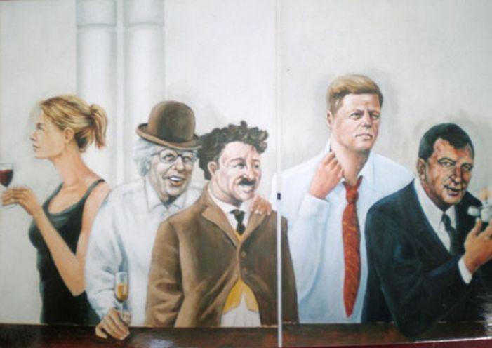 Detail. We hadden bedacht dat we ons zelf tussen alle historische figuren terug zouden laten komen als subtiele grap. Dus daar stonden we tussen Kennedy, Chaplin Annie M.G. Smit en Humprey Bogart.....