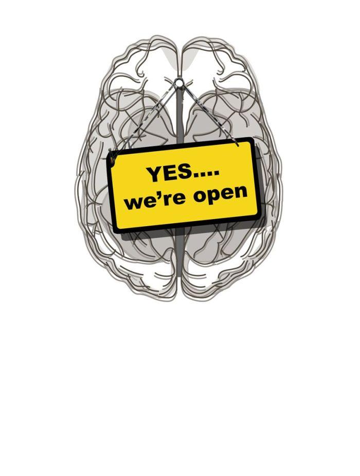 Yes We're Open. Art print op canvas 100/70