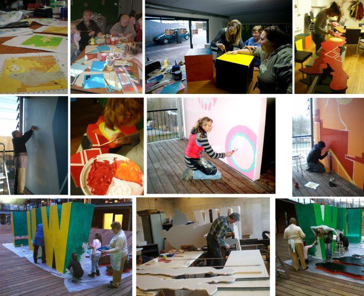 Het werkproces, met de bewoners van de ravelijn Deventer en stagiaire Isabelle Riphagen, in beeld