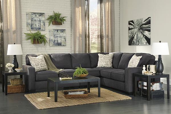 Alenya 3 Piece Corner Sofa Sectional In Charcoal Marjen