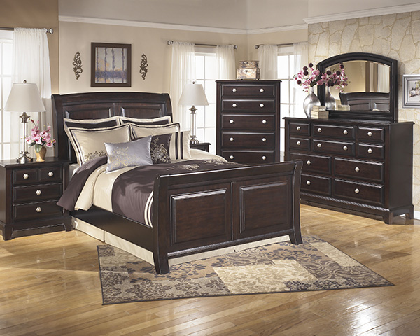 Ridgley 4 Piece Sleigh Bedroom Set In Dark Brown Marjen