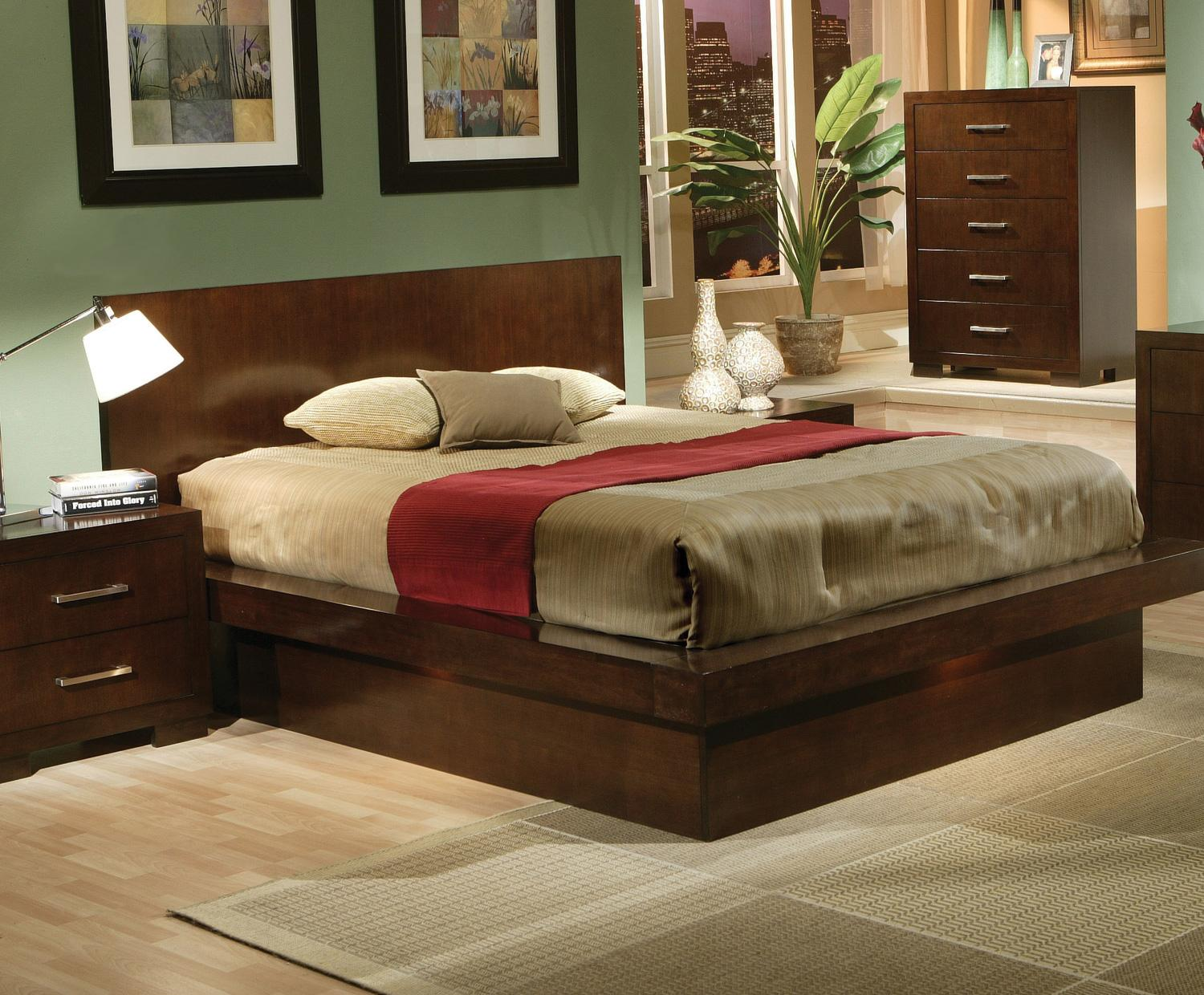 Jessica Queen Platform Bed With Rail Seating And Lights By