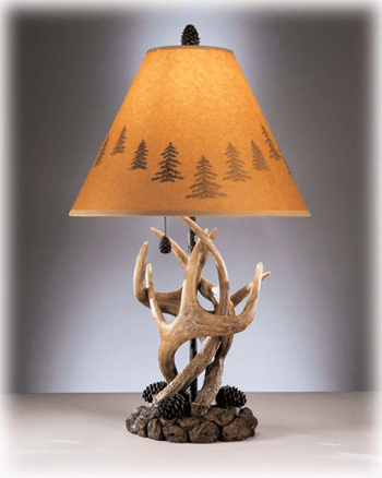Derek Rustic Antlers And Pine Cone Based Table Lamp