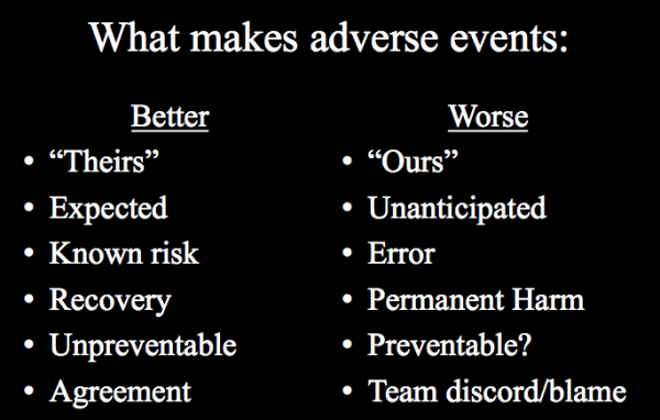 how doctors react to mistakes and adverse events