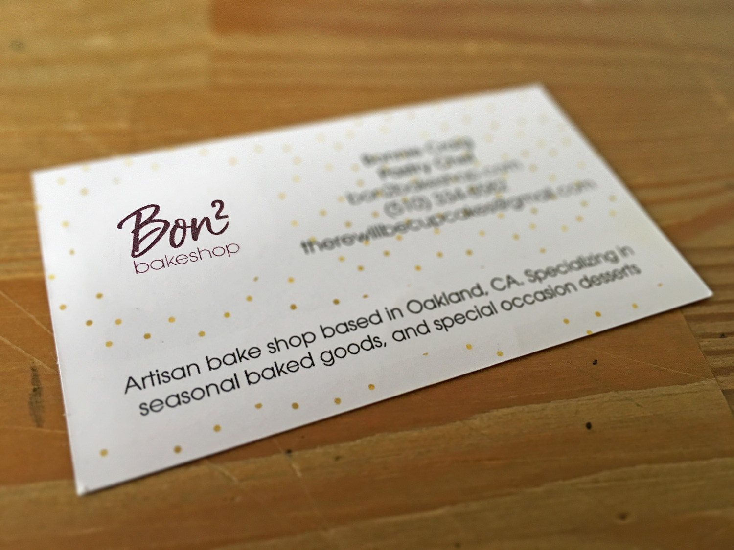 Bon² Bakeshop — identity logo, business card, t-shirt, site - Mark ...