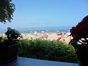 View of the beach from lunch