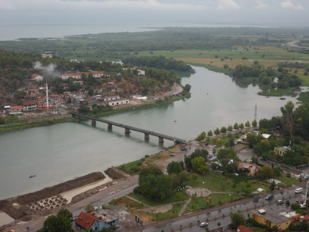 View of Bojana River and Shkodra from Rozafa Castle