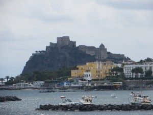 Arriving at the harbor in Ischia, overlooked by the stunning Castello Aragonese